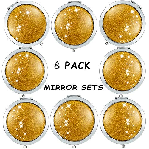 scomfy 8pcs Wedding Makeup Pocket Compact Mirror,1 to Be Bride Bling Bling Mirror 7 Bride Tribe Bridesmaid Gifts Mirrors -Double Magnifying Mirror Cosmetic Pocket Bridal Party Gifts for Bridesmaids (Best Bridesmaid Gifts Received)