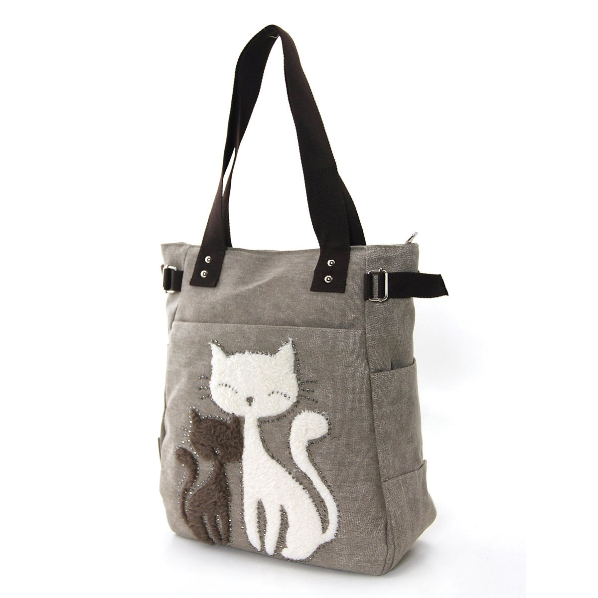 d04fe587a67a Amazon.com  Lovely Cats With Faux Fur And Studs Canvas Tote Bag  Shoes