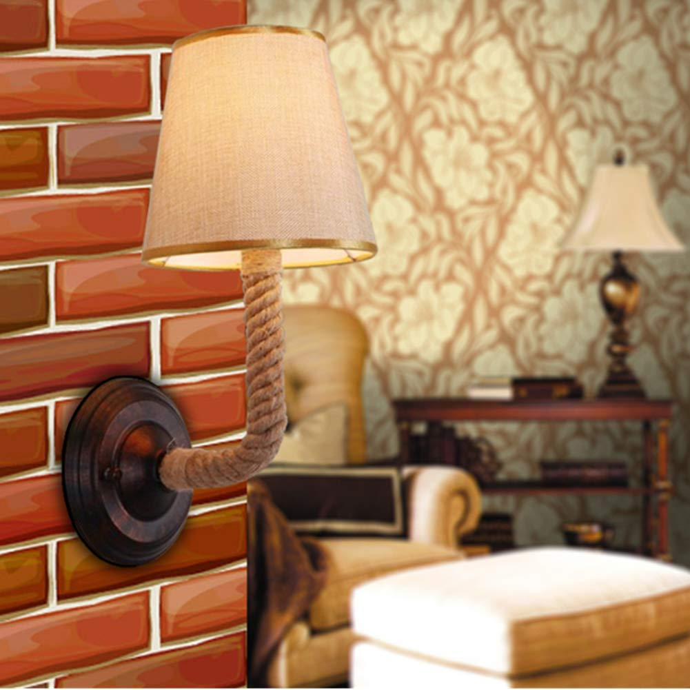 Ladiqi Bedroom Wall Sconce Lighting Fixture Vintage Rustic Hemp Rope Wall Lamp Lights Indoor Outdoor by Ladiqi (Image #2)