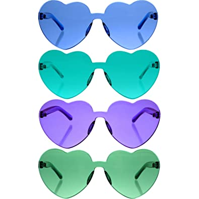 Gejoy 4 Pieces Heart Shaped Rimless Sunglasses Transparent Frameless Glasses Tinted Eyewear for Women and Girls Party Cosplay