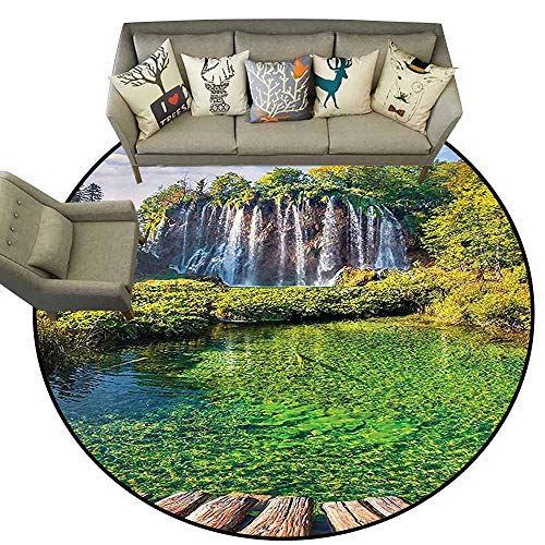 Round Floor CoverWaterfall Decor Collection Blue Sky Colorful Picture of Plitvice Lakes National Park Living Dining Room Bedroom Hallway Office Carpet D59 Green Blue -