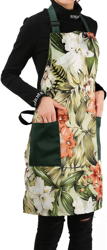 Love Potato Stylish Flower Pattern Adjustable Home Kitchen Cooking Apron with Pockets for Women and Men, Green
