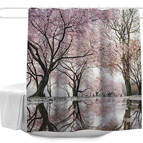 Colorful Star Japanese Cherry Blossoms Design Shower Curtain Pink,Waterproof&Antibacterial&Eco-Friendly Made of 100% Polyester Fabric,Non Toxic, Odor Free, Rust Proof Grommets - Shower Cherry Curtain Blossom