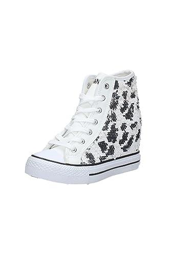Cafè Noir Sneaker Mujer cuña Cm 7 Paillettes Blanco Plateado_40 Bajo costo de envío barato Compra con descuento NT1aKpv
