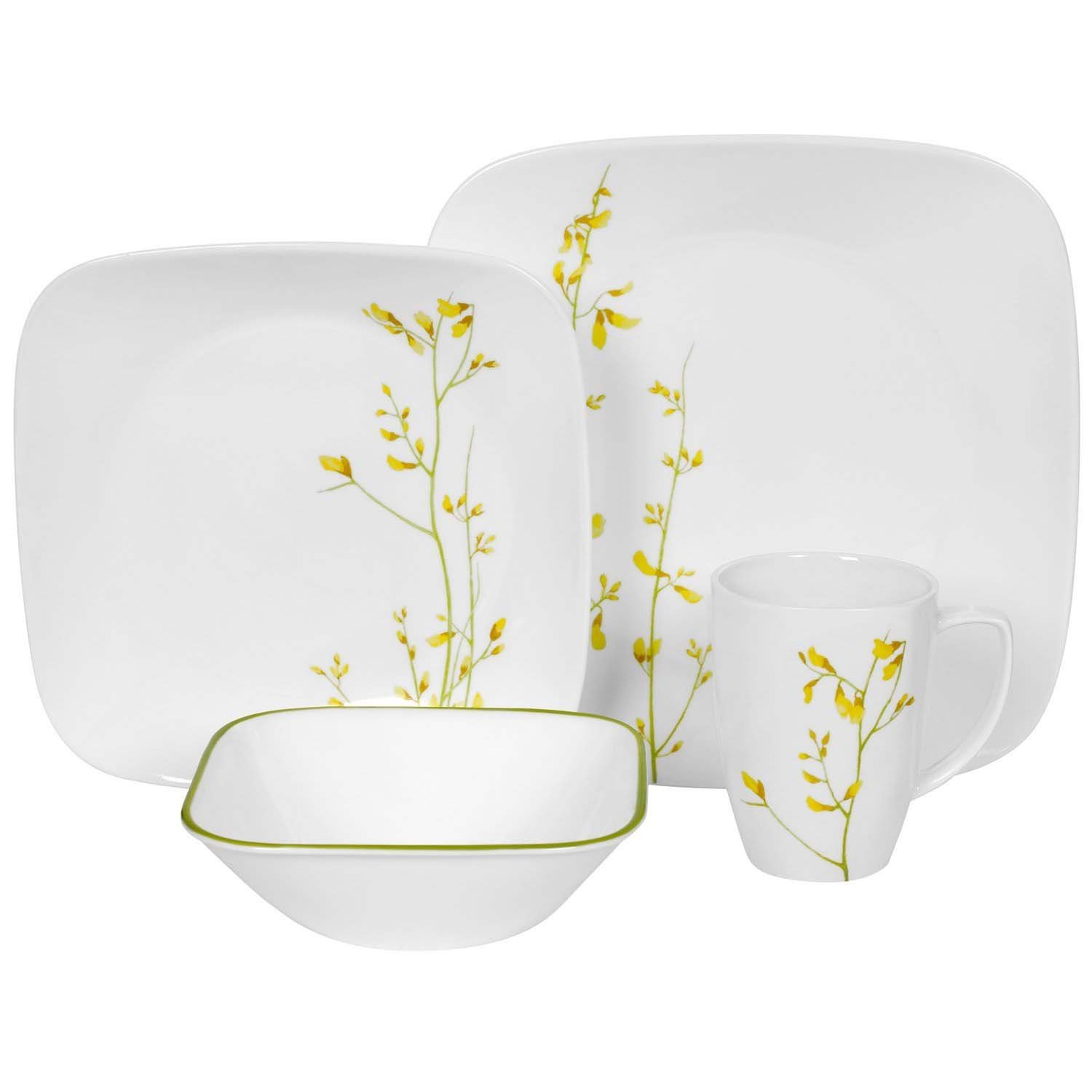 Corelle 16 Piece Vitrelle Glass Kobe Chip And Break Resistant Dinner Set,  Service For 4, Yellow/ Green: Amazon.co.uk: Kitchen U0026 Home