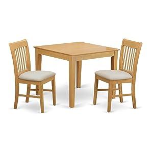 East West Furniture OXNO3-OAK-C Kitchen Set 3-piece
