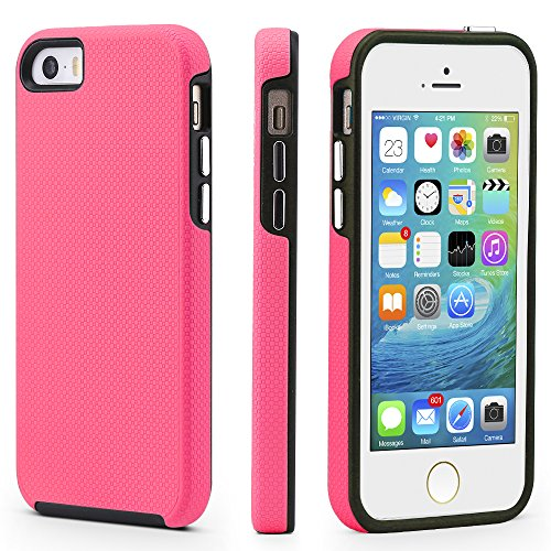 iPhone 5/5s/SE Case, CellEver Dual Guard Protective Shock-Absorbing Scratch-Resistant Rugged Drop Protection Cover for iPhone 5/5S/SE (Pink) (Best Iphone 5s Case Ever)