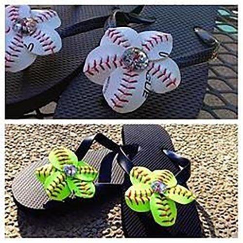 2fb786271 Amazon.com  F001 Baseball or Softball Flip Flop Flower Set