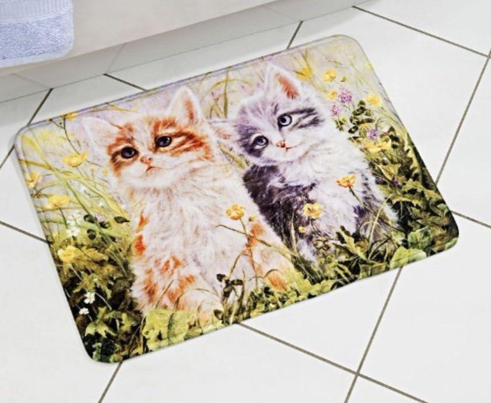 saugstark und  rutschhemmend Badmatte mit Katzen-Motiv 40 x 60 cm Wattiert