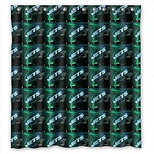 "72""x72"" 72x72 inch 180x180 cm shower curtain mildew free polyester ANTI-BACTERIAL Mildew Free New York Jets nfl football logo"