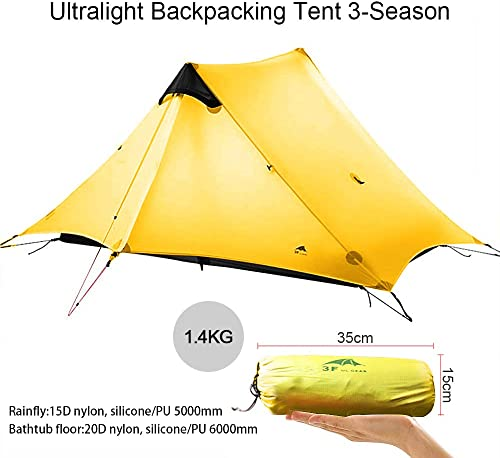 KIKILIVE Ultralight Tent 3-Season Backpacking Tent for 1-Person or 2-Person Camping, New LanShan Outdoor Camping Tent Shelter,Perfect for Trekking, Kayaking, Climbing, Hiking NOT included Trekking Pole