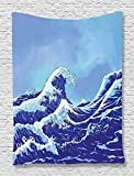 Ocean Tapestry Blue Decor by Ambesonne, The Great Waves of Kanagawa Big Tsunami Nautical Pattern, Bedroom Living Kids Room Dorm Accessories Art Wall Hanging, 40W x 60L Inches, Navy Royal Blue