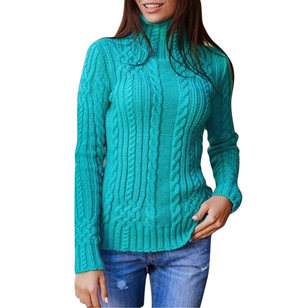 Thatso Womens Pullover Sweater Lady Winter High Collar Long SleeveKnitted Jumper Sweatshirt Tops (XL, Green)