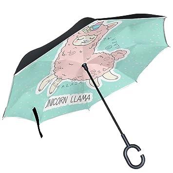 ALAZA - Paraguas reversible con diseño de unicornio y lunares, color rosa