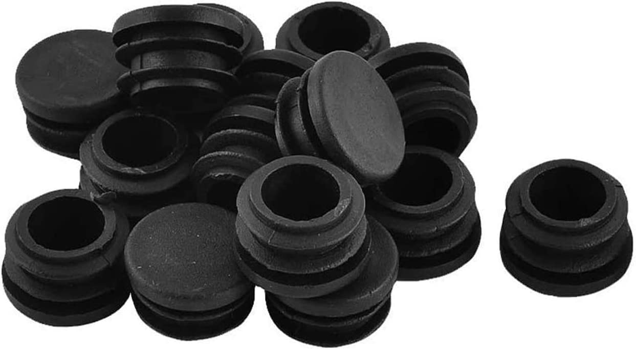 Antrader Furniture Foot Table Chair Legs Blanking End Plastic Round Ribbed Tube Insert Plug Pipe Tubing End Cap Black 30pcs (22mm)