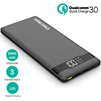 Portable Charger Power Bank, Hokonui 20000mAh External Battery Packs Quick Charge 3.0 with 3 Inputs & 3 Outputs Compatible Samsung Galaxy S9 Plus/S9/S8 Plus/S8, Tablet, and More
