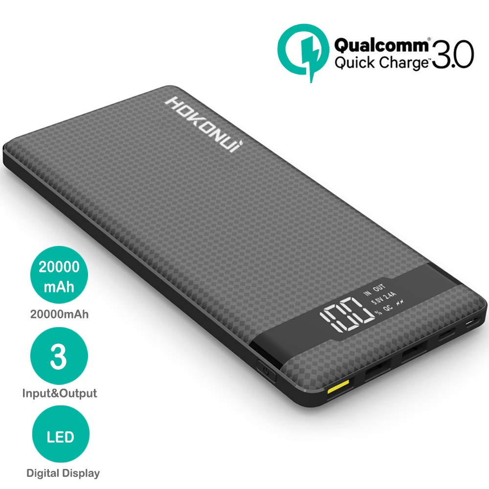 Portable Charger Power Bank, Hokonui 20000mAh External Battery Packs Quick Charge QC 3.0 with 3 Inputs & 3 Outputs Compatible for iPhone, Samsung Galaxy S9 Plus/S9/S8 Plus/S8, iPad and More