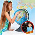 Interactive Globe for Kids, 2 in 1, Day View World Globe and Night View Illuminated Constellation Map by Kidzlane