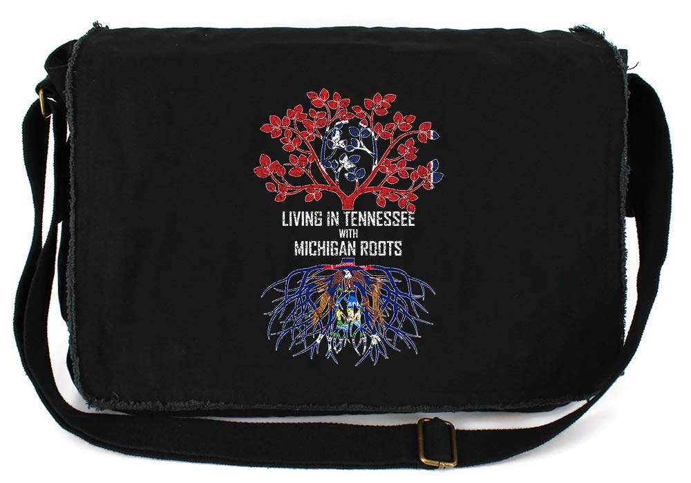 Tenacitee Living In Tennessee with Michigan Roots Grey Brushed Canvas Messenger Bag