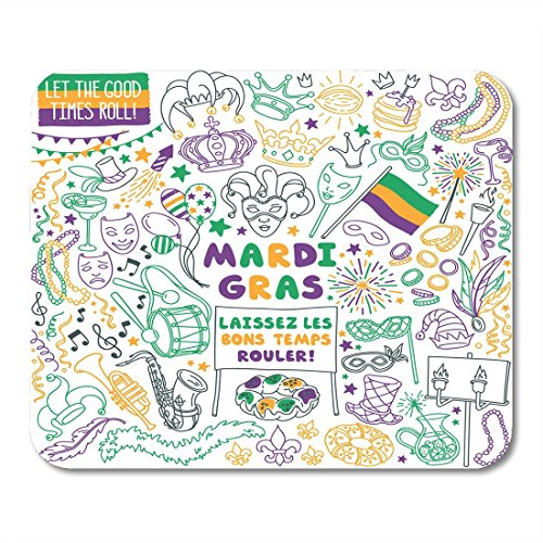 Boszina Mouse Pads Mardi Gras Traditional Symbols Collection Carnival Masks Party White French Laissez Les Bons Temps Rouler Mouse Pad for notebooks,Desktop Computers mats 9.5