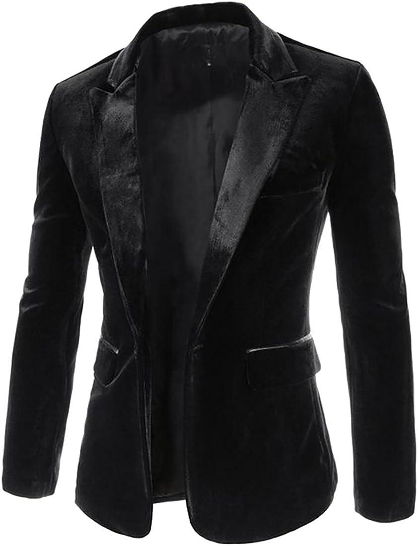 Pandapang Mens Slim One Button Business Lapel Collar Coat Blazer Jackets