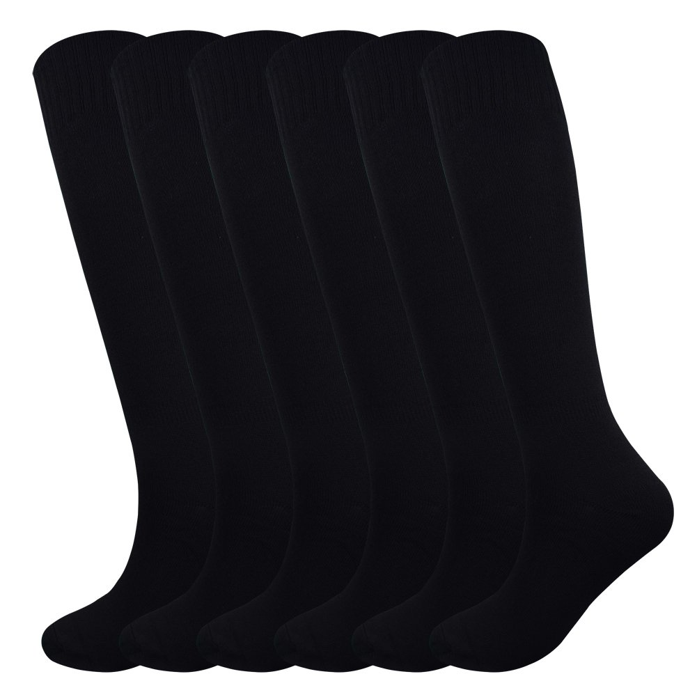 Fitliva Tube Dresses Classic Adult Athletic Traditional Knee length Socks(6Pack-Black) by Fitliva