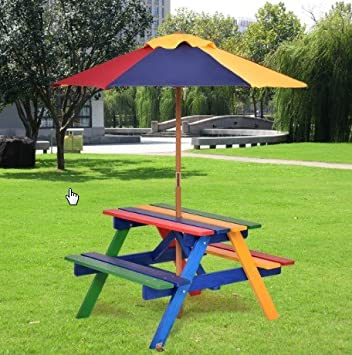 costway 4 seat kids picnic table with umbrella garden yard folding children bench outdoor seats