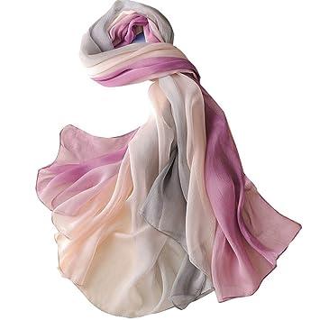 Pañuelo de seda Mujer Toalla de playa Bufanda Moda Gasa Larga simulación Seda Protector solar Chal