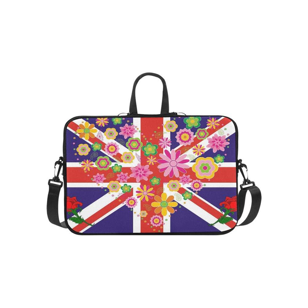 Flower Love UKユニオンジャック英国国旗柄ブリーフケース ノートパソコンバッグ メッセンジャーショルダー 仕事バッグ クロスボディ ハンドバッグ ビジネス 旅行   B07K9VL5QM