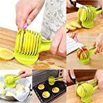 """Laytek Tomato Slicer, Multi-functional Handheld Tomato Round Slicer, Fruit Vegetable Cutter, Lemon Shredders Slicer, With the Special Hook 10 Material : ABS Mold Size :18.5 x 8 CM /7.3 """"X 3.1"""" Package Includes : 1 x HandHeld FruitS Round Slicer With this tomato slicer,you'll create perfect tomato slices everytime,This kind of fruit and vegetable slice assistant design novel, beautiful, bright color, easy to operate, safe and reliable. Add the tomato slicer along each gap from the top down the you could cut it into pieces"""