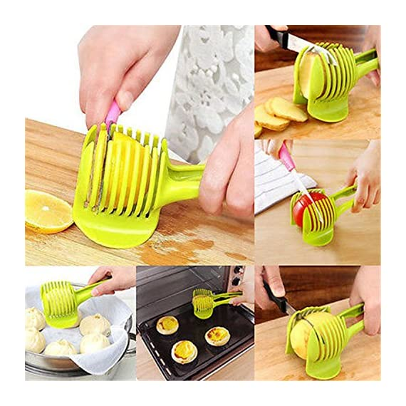 """Laytek Tomato Slicer, Multi-functional Handheld Tomato Round Slicer, Fruit Vegetable Cutter, Lemon Shredders Slicer, With the Special Hook 2 Material : ABS Mold Size :18.5 x 8 CM /7.3 """"X 3.1"""" Package Includes : 1 x HandHeld FruitS Round Slicer With this tomato slicer,you'll create perfect tomato slices everytime,This kind of fruit and vegetable slice assistant design novel, beautiful, bright color, easy to operate, safe and reliable. Add the tomato slicer along each gap from the top down the you could cut it into pieces"""