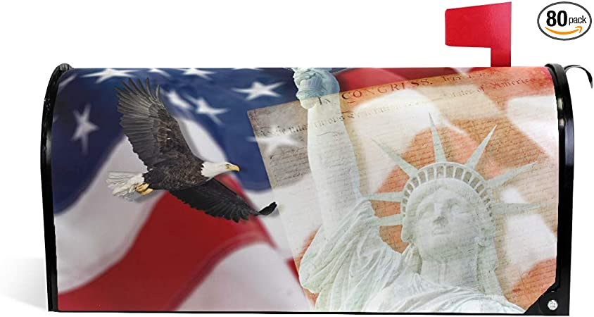 ALAZA Eagle with American Flag Patriotic Mailbox Cover Standard Size-18x 20.8
