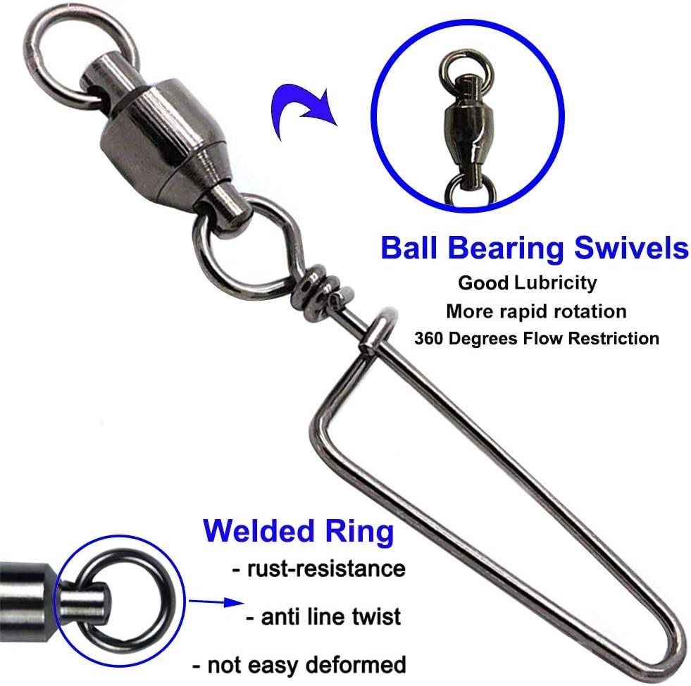 100 pcs Fishing Ball Bearing Coastlock Snap Connector Fast Swivel Silver  QCR