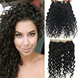 RISSING HAIR 360 Lace Frontal Closure with Bundle Pack of 3, Brazilian Water Wave Weave Lace Full Head Natural Black 100% Unprocessed Human Hair Weaves (20 22 24 brazilian hair with 360 frontal 18')