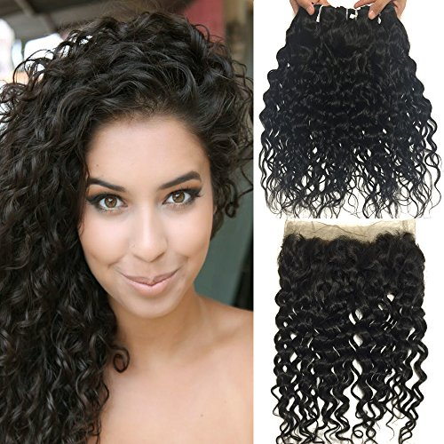 RISSING HAIR 360 Lace Frontal Closure with Bundle Pack of 3, Brazilian Water Wave Weave Lace Full Head Natural Black 100% Unprocessed Human Hair Weaves (20 22 24 brazilian hair with 360 frontal 18