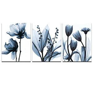 sechars - Modern Canvas Art Wall Decor,Blue Flower Picture Printed on Canvas Painting,Abstract Floral Artwork Bedroom Decoration,Stretched and Framed Ready to Hang