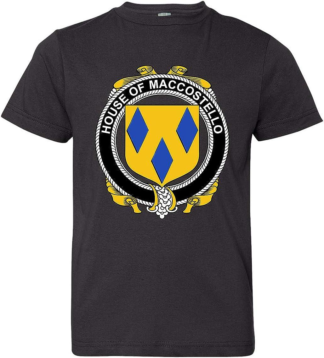 Tenacitee Boys Youth Irish House Heraldry Maccostello T-Shirt Black X-Large