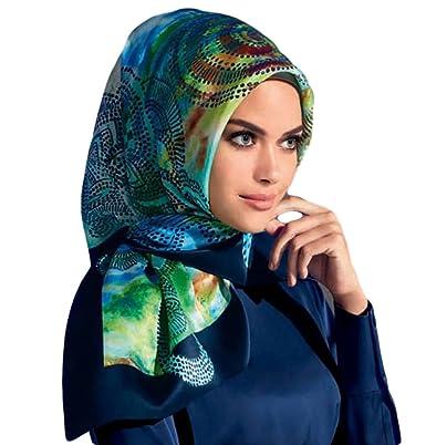 Armine Femme Carré de soie foulard turque Bleu vert  Amazon.fr ... 21ce87ba999