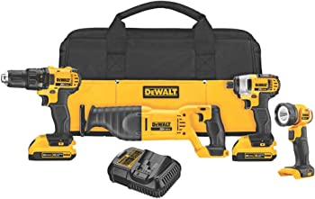 Dewalt 4-Tool 20V Max Li-Ion Cordless Combo Kit w/Soft Case