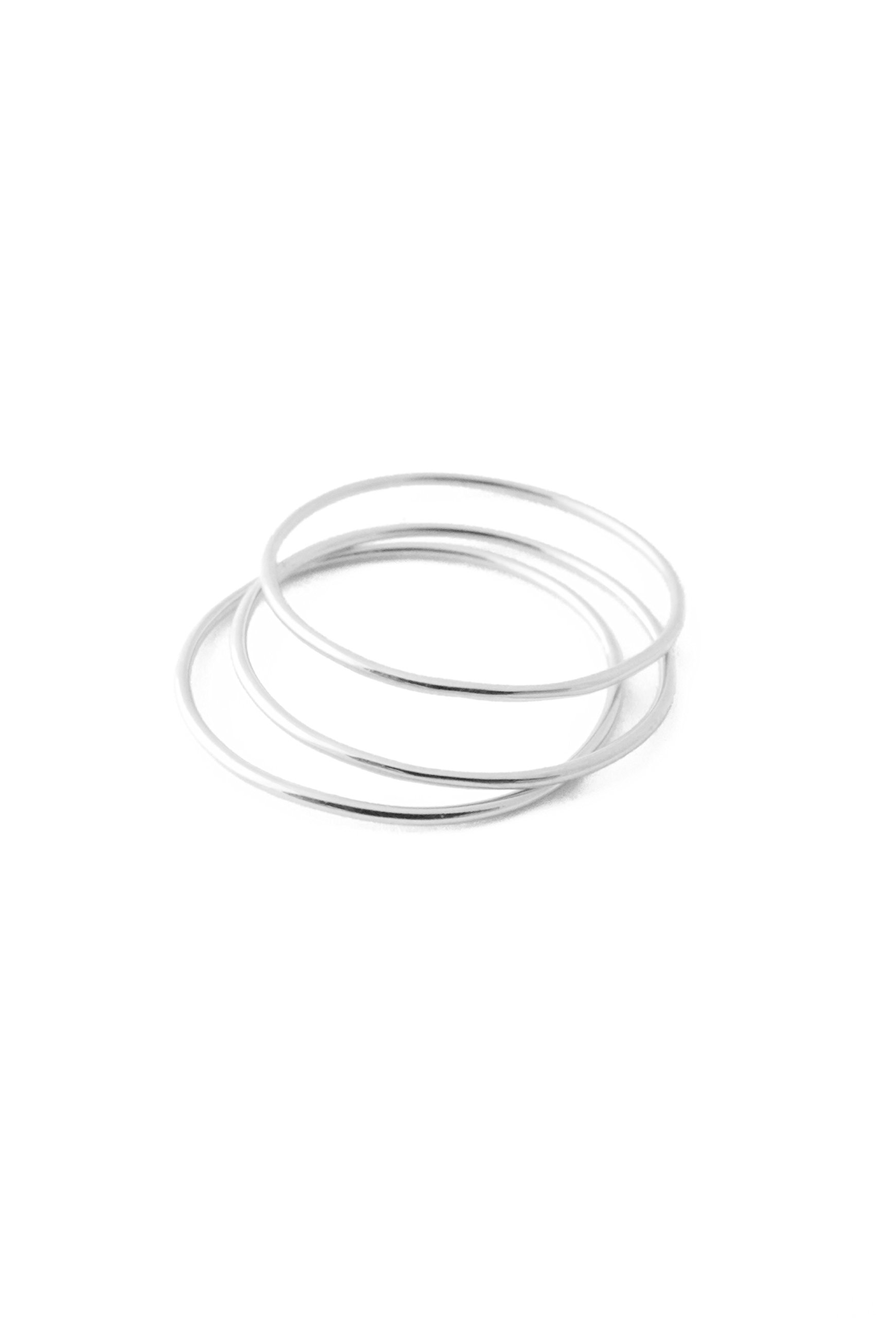 HONEYCAT Super Skinny Stacking Rings Trio Set in Sterling Silver Plate | Minimalist, Delicate Jewelry (Silver, 5)