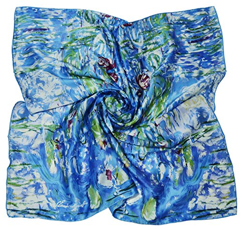 Van Gogh and Claude Monets Paintings, Square Elegant Luxury Fashion 100 Silk Scarf Premium Shawl Wrap Art