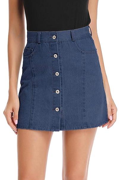 Womens Ladies  Denim Jean Short Stretch Dark /& Black Wash Mini Skirt 8-18