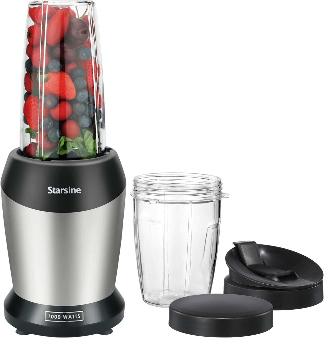 Starsine Personal Blender for Shakes and Smoothies,with 1000-Watt Base and 27 oz and 16 oz cups, BPA free with Spout Lids Black/Silver