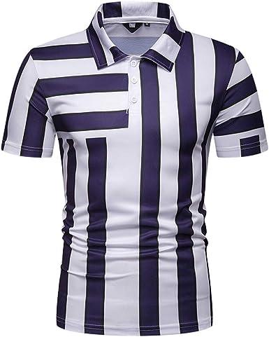 ESAILQ Camiseta De Casual Manga Corta para Hombres Camisa De Rayas BotóN Abertura Llano Collar De Vuelta Empalme Camisas Mezcla De AlgodóN: Amazon.es: Ropa y accesorios