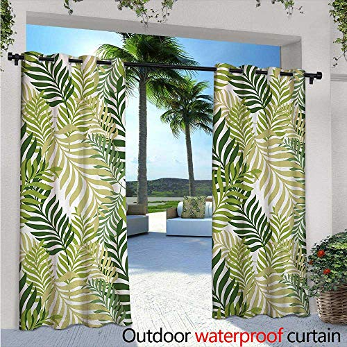 (BlountDecor Leaf Balcony Curtains W84 x L96 Tropic Exotic Palm Tree Leaves Natural Botanical Spring Summer Contemporary Graphic Outdoor Patio Curtains Waterproof with Grommets Green Ecru )