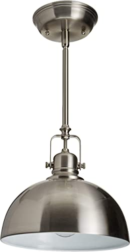 CANARM IPL222B01BN Polo 1 Light 9 Rod Pendant, Brushed Nickel with Painted White Interior