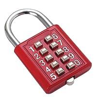 1 candado de seguridad con combinación de botones, caja de herramientas de 10 dígitos, candado con combinación de botones y mecanismo de bloqueo de 5 posiciones