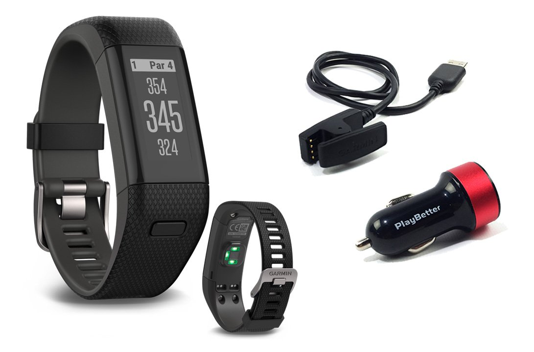 Garmin Approach X40 (Black/Gray) Golf GPS & Fitness Band BUNDLE with PlayBetter USB Car Charge Adapter