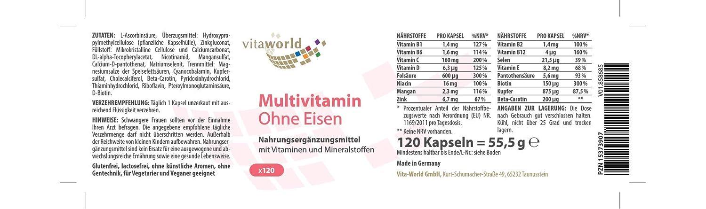 Vita World Multiplex Multivitamínico A-Z/sin hierro 120 ...
