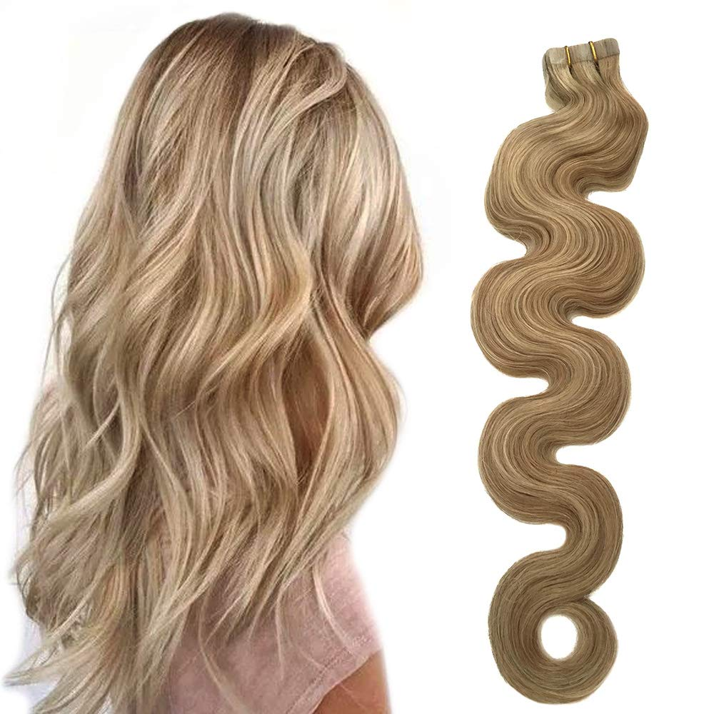 Amazon Com Tape In Extensions Dirty Blonde Hair With Blonde